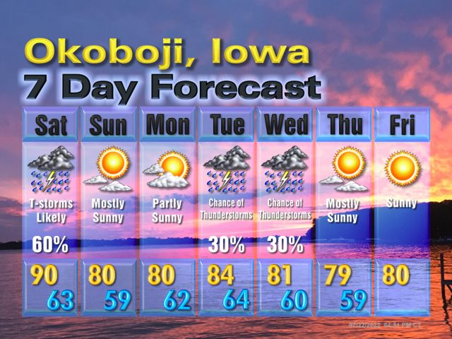 Explore Okoboji Weather   Northwest Iowa Weather   Local Forecast